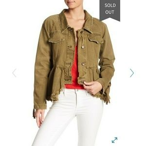 Free People Willow Peplum Hem denim jacket